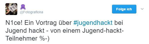 Screenshot eines Tweets mit dem Text: Nice: Ein Vortrag über Jugend hackt bei Jugend hackt, von einem Jugend-hackt-Teilnehmer